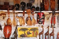 非洲工艺项目待售在市场上在伊林加在坦桑尼亚 库存照片