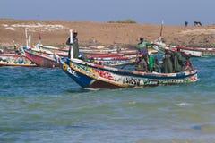 非洲捕鱼船 库存照片