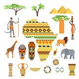 非洲标志和旅行传染媒介集合 库存照片