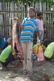 非洲渔夫和鲶鱼 库存图片