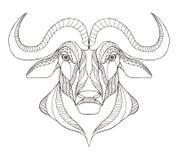 非洲水牛头zentangle传统化了,导航,例证, f 免版税库存照片