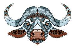 非洲水牛头zentangle传统化了,导航,例证, f 免版税库存图片