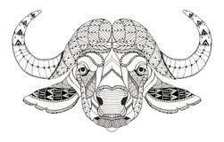 非洲水牛头zentangle传统化了,导航,例证 库存照片