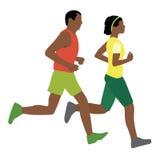 非洲男人和妇女赛跑 库存照片