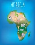 非洲的地图有逗人喜爱的野生生物和动物的 库存例证