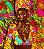 非洲的秀丽 一名美丽的非洲妇女的五颜六色的数字式艺术场面, 免版税库存照片