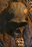 非洲礼拜式的人的头骨在非洲村庄 免版税库存照片