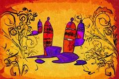 非洲种族减速火箭的葡萄酒艺术 免版税库存照片