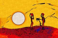 非洲种族减速火箭的葡萄酒艺术 免版税库存图片
