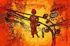 非洲种族减速火箭的葡萄酒艺术 库存图片