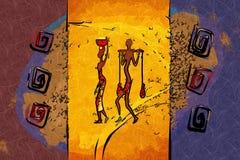非洲种族减速火箭的葡萄酒艺术 库存照片