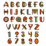 非洲种族原始字体 手拉的明亮地徒步旅行队传染媒介字母表 向量例证