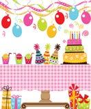 非洲裔美国人气球美丽的生日蛋糕庆祝巧克力杯子楼层女孩藏品家当事人当前坐的微笑的包围的时间对年轻人 库存例证