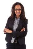 非洲裔美国人的企业微笑的妇女 免版税库存照片