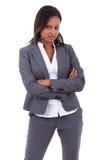 非洲裔美国人的企业微笑的妇女 免版税库存图片