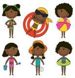 非洲裔美国人的海滩愉快的孩子 免版税库存图片