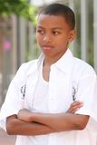 非洲裔美国人的男孩严重的少年 免版税图库摄影