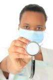 非洲裔美国人的黑人医生查出的护士 免版税库存图片