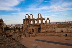 非洲观众席colosseum el片段jem最大的北部破坏突尼斯 免版税库存图片
