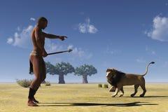 非洲部族猎人和狮子 免版税图库摄影