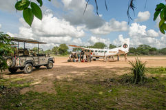非洲风景-在塞卢斯禁猎区,坦桑尼亚的旅游业 库存照片