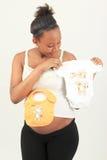 非洲黑色metisse孕妇 免版税库存照片