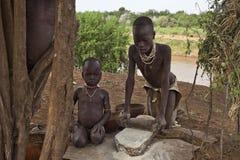 非洲,南埃塞俄比亚, Omo谷24 12 2009年 免版税库存图片
