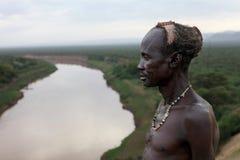 非洲,埃塞俄比亚, omo谷, Karo人 免版税库存图片