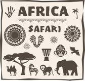 非洲,徒步旅行队象和元素集 库存例证