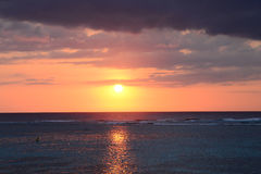 非洲,日落在Mont Choisy在毛里求斯 免版税库存照片