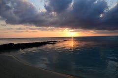 非洲,日落在Mont Choisy在毛里求斯 免版税图库摄影