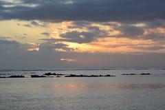 非洲,日落在Mont Choisy在毛里求斯 免版税库存图片