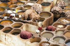 非洲fes摩洛哥皮革厂 库存图片