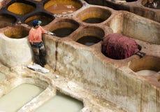 非洲fes摩洛哥皮革厂 免版税图库摄影