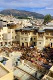 非洲fes摩洛哥皮革厂 免版税库存图片