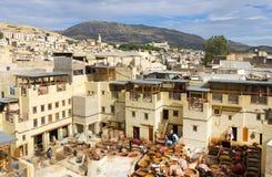 非洲fes摩洛哥皮革厂 库存照片