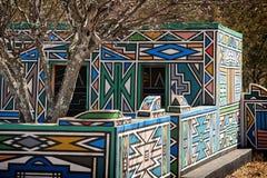 非洲ndebele南村庄 免版税库存图片