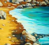 靠岸和波浪,绘由在帆布的油 皇族释放例证