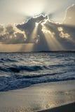 靠岸在日落 库存图片