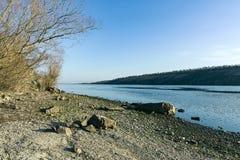 靠岸在海岛Khortytsya的岸 免版税库存图片