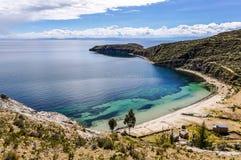 靠岸在Isla在的喀喀湖的del Sol在玻利维亚 图库摄影
