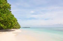 靠岸在Zapatilla海岛, Bocas del托罗,巴拿马上 免版税图库摄影