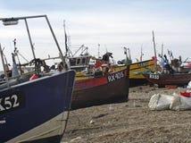 靠岸的小船钓鱼 库存照片