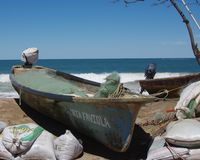 靠岸的小船钓鱼 免版税库存图片