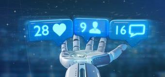靠机械装置维持生命的人在s的手举行象的,追随者和消息通知 皇族释放例证