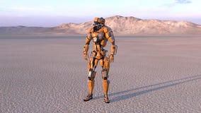 靠机械装置维持生命的人工作者,有人的特点的机器人在有山的在背景中,机械机器人, 3D沙漠回报 库存例证