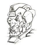 靠机械装置维持生命的人战士面孔 库存例证