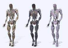 靠机械装置维持生命的人判断机器人 免版税库存图片