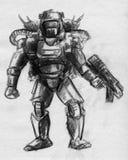 靠机械装置维持生命的人战士剪影 向量例证
