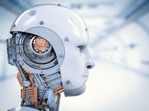 靠机械装置维持生命的人面孔或机器人面孔 库存例证